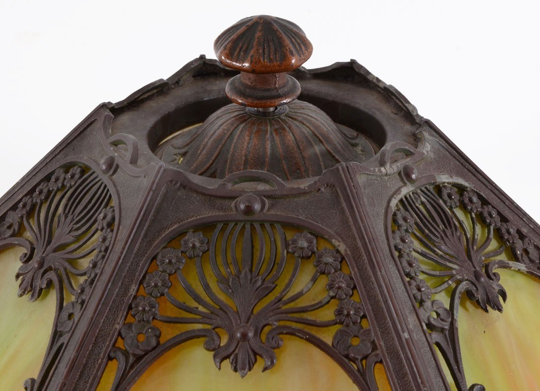CAST IRON GREEN SLAG GLASS LAMP - 2