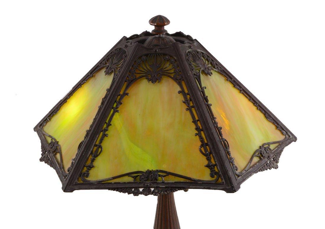 CAST IRON GREEN SLAG GLASS LAMP - 4