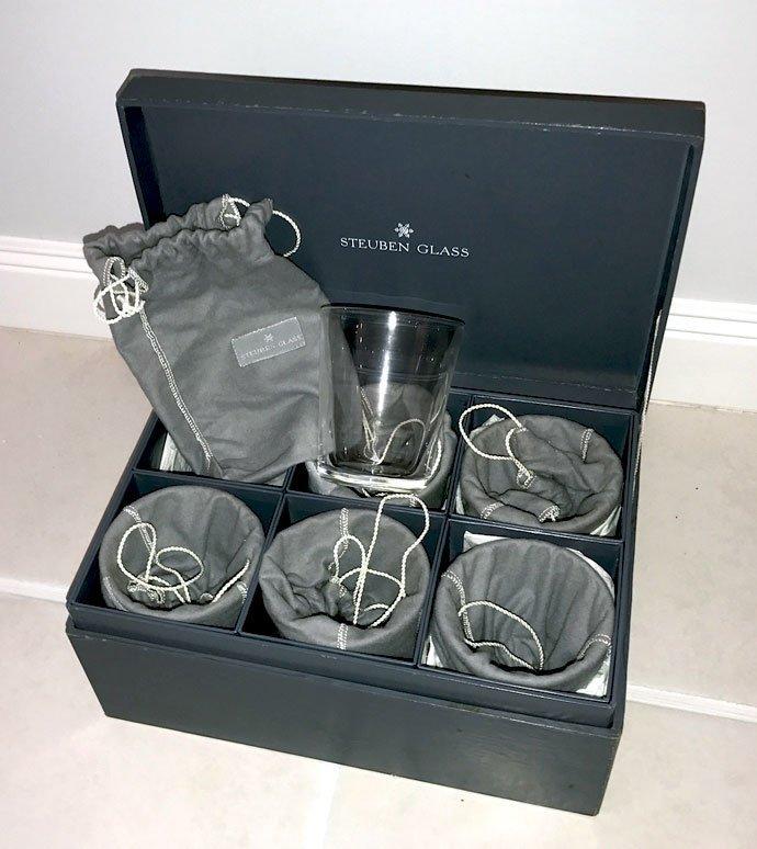 6 STEUBEN OLD FASHIONED GLASSES IN BOX - 2
