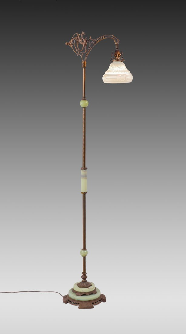 CAST IRON AND ONYX GRIFFIN FLOOR LAMP