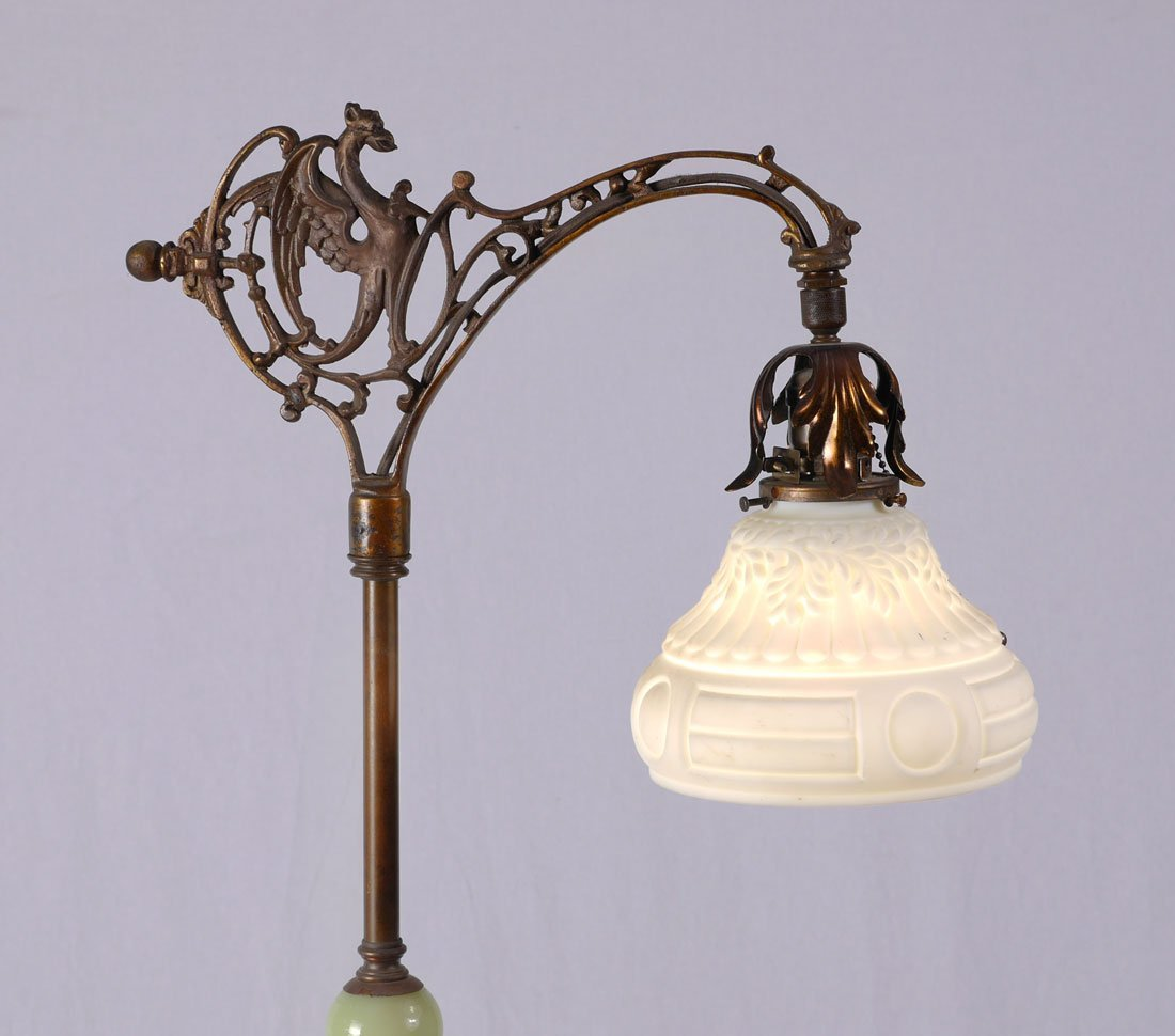 CAST IRON AND ONYX GRIFFIN FLOOR LAMP - 2