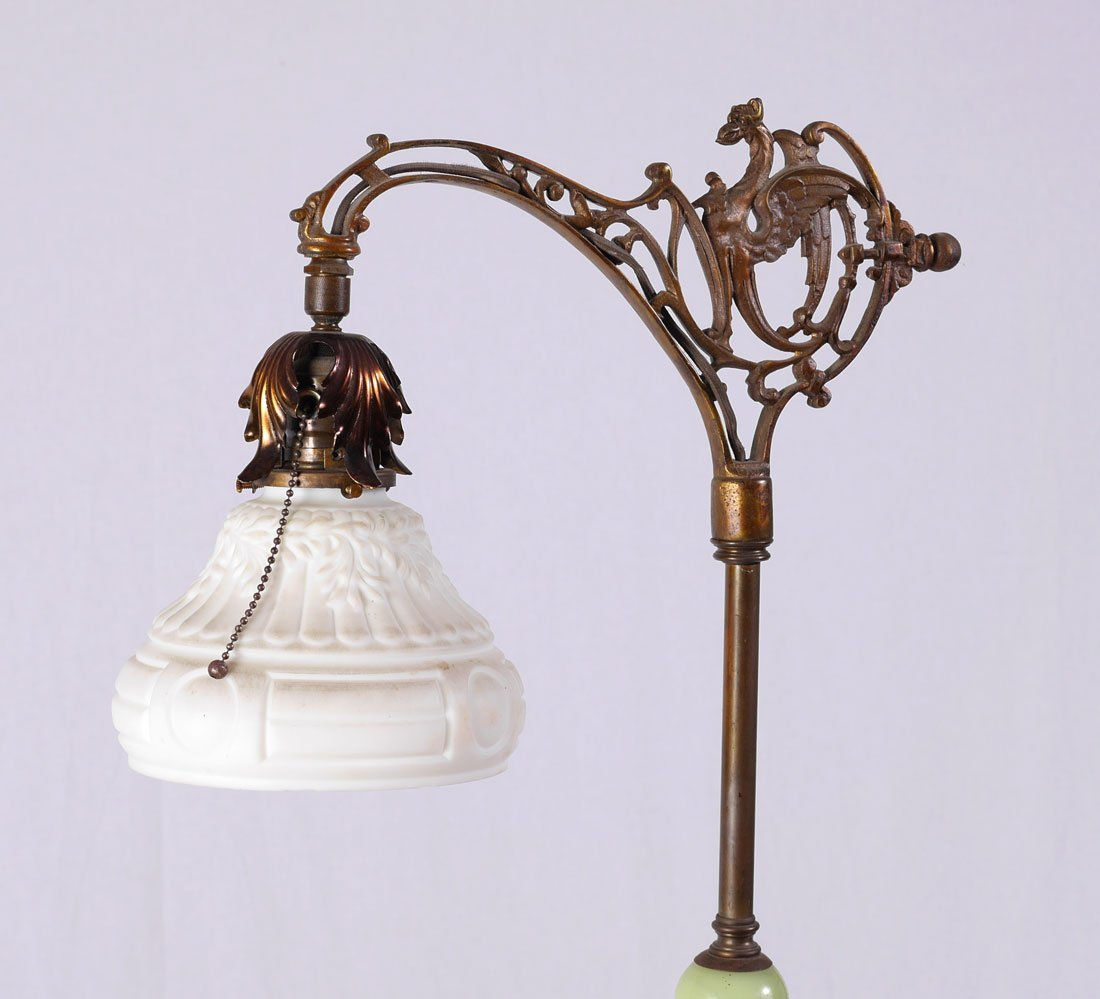 CAST IRON AND ONYX GRIFFIN FLOOR LAMP - 4
