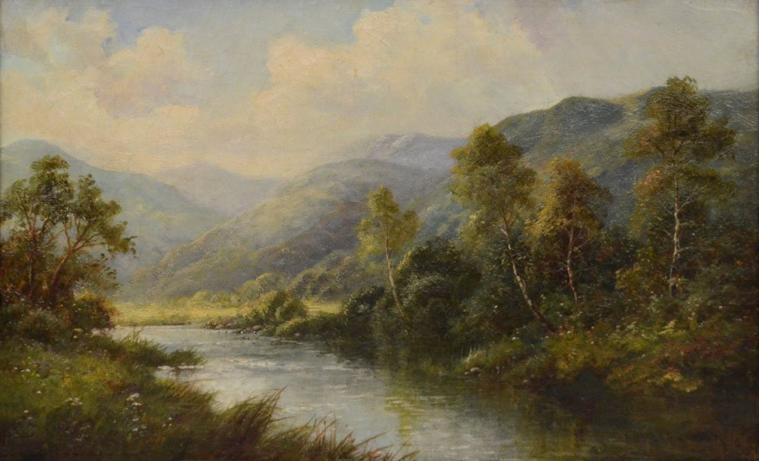 GOOD HIGHLAND RIVER LANDSCAPE PAINTING - 2