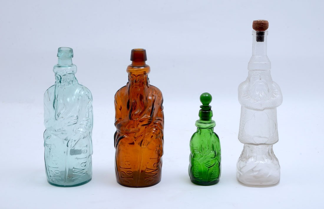 COLLECTION OF 4 ANTIQUE FATHER CHRISTMAS BOTTLES
