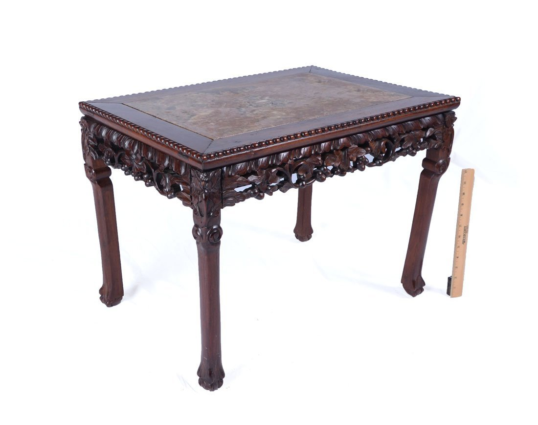 CARVED ORIENTAL MARBLE TOP COFFEE TABLE