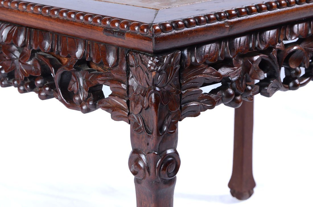 CARVED ORIENTAL MARBLE TOP COFFEE TABLE - 3