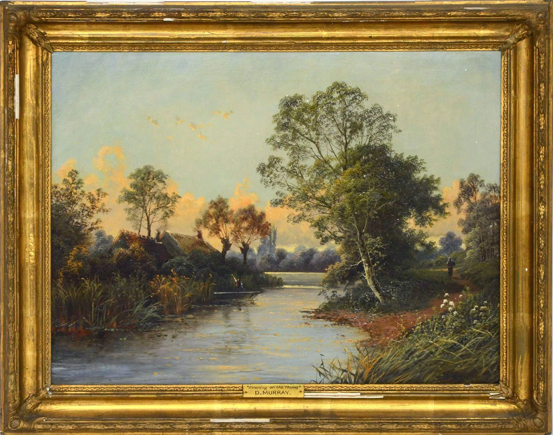EVENING ON THE THAMES PAINTING SIGNED D. MURRAY - 2