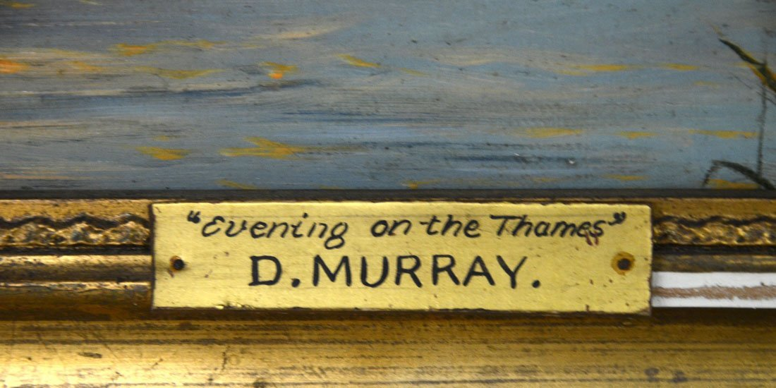 EVENING ON THE THAMES PAINTING SIGNED D. MURRAY - 4