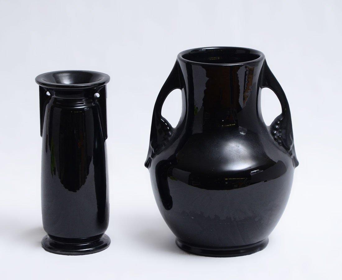 2 PIECE ROSEVILLE ROSECRAFT BLACK POTTERY