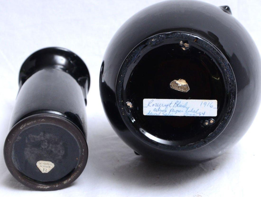 2 PIECE ROSEVILLE ROSECRAFT BLACK POTTERY - 2