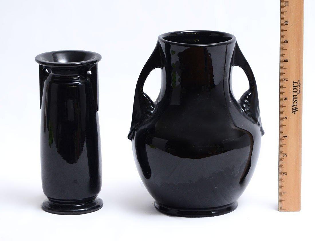 2 PIECE ROSEVILLE ROSECRAFT BLACK POTTERY - 3