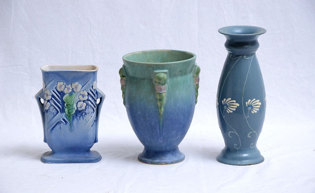 3 ROSEVILLE POTTERY VASES AZTEC, TOPEO, & CLEMANA