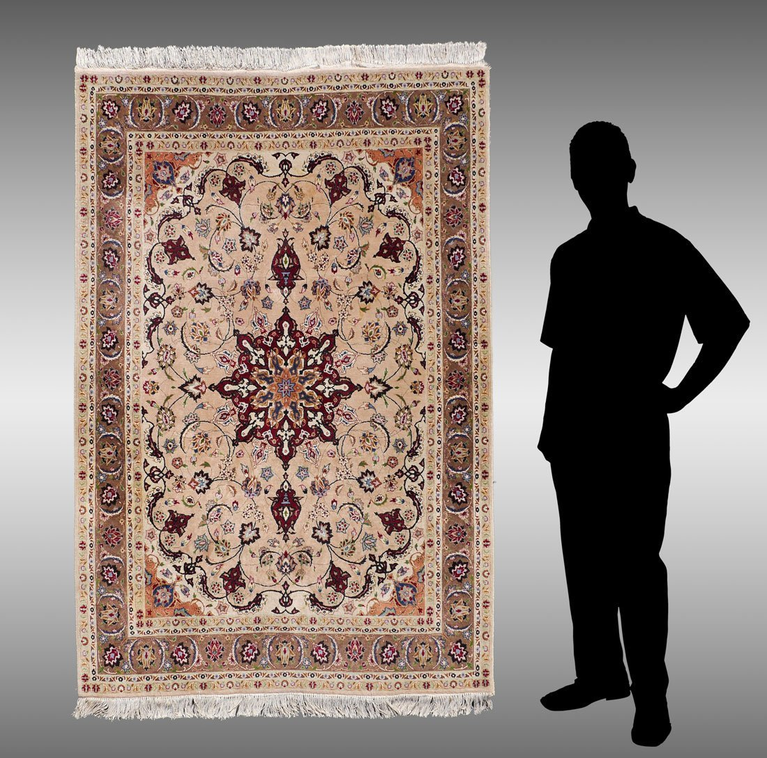 "PERSIAN FINELY HK WOOL RUG WITH SILK, 4'4"" X 6'10"""