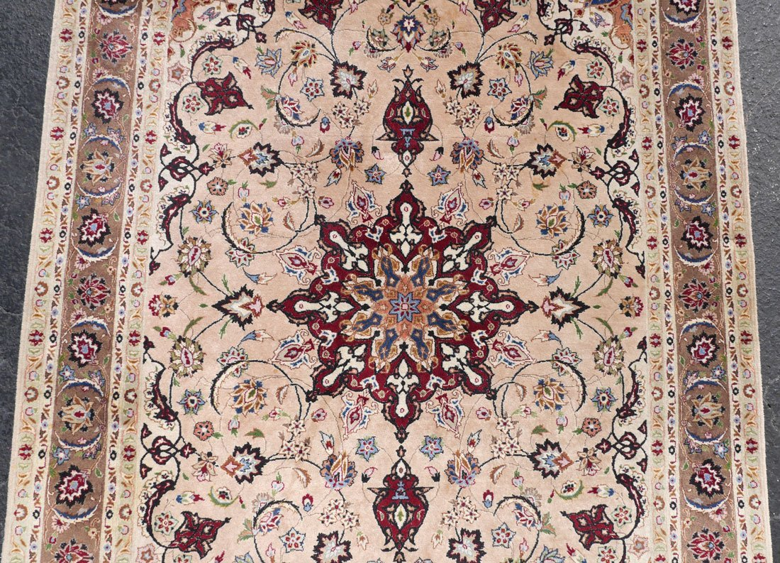 "PERSIAN FINELY HK WOOL RUG WITH SILK, 4'4"" X 6'10"" - 2"