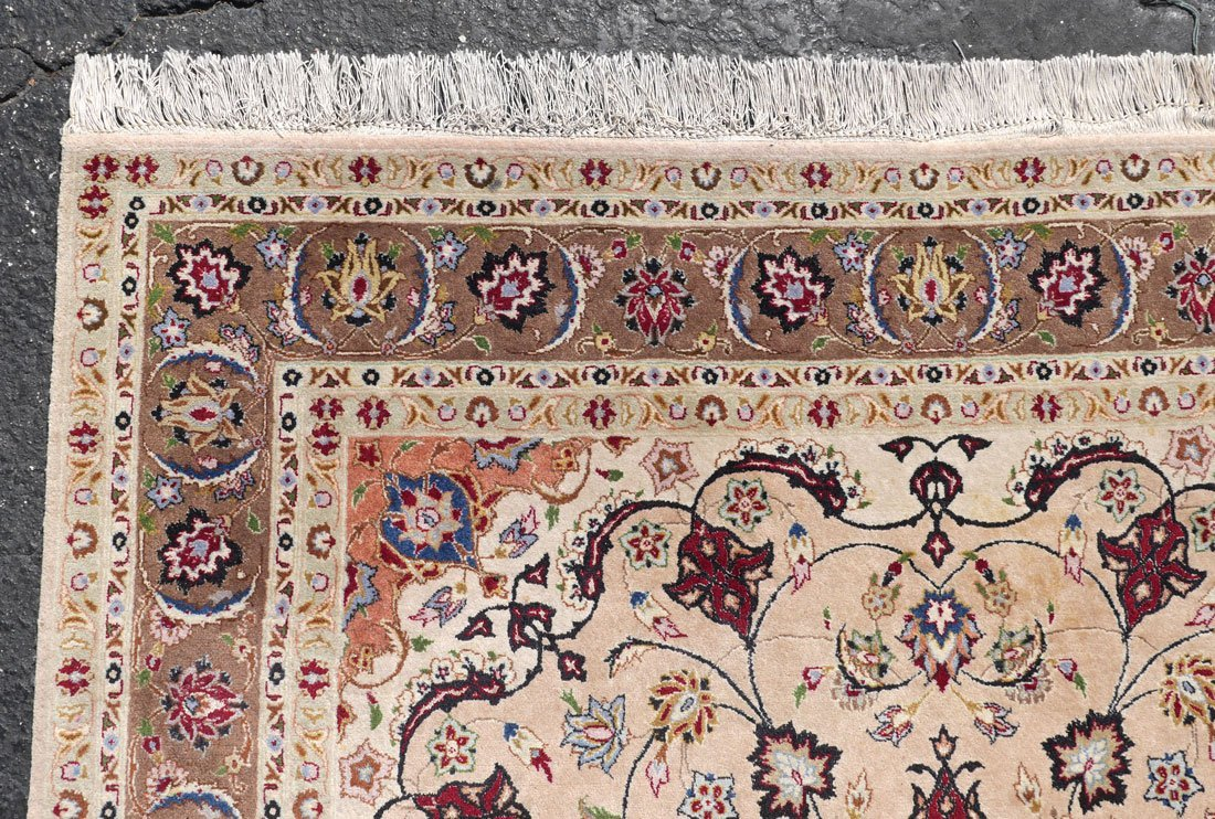 "PERSIAN FINELY HK WOOL RUG WITH SILK, 4'4"" X 6'10"" - 4"