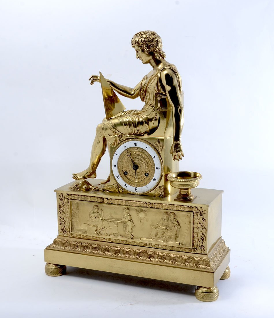 FRENCH EMPIRE FIGURAL GILT BRONZE MANTLE CLOCK