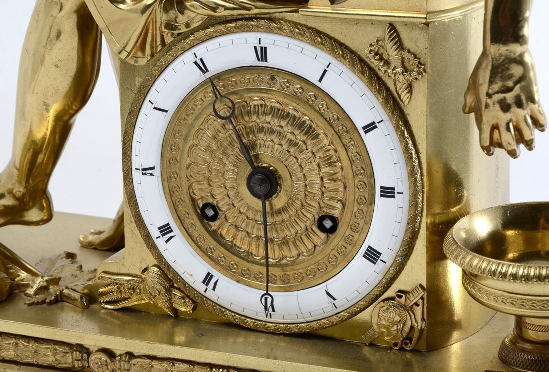 FRENCH EMPIRE FIGURAL GILT BRONZE MANTLE CLOCK - 3