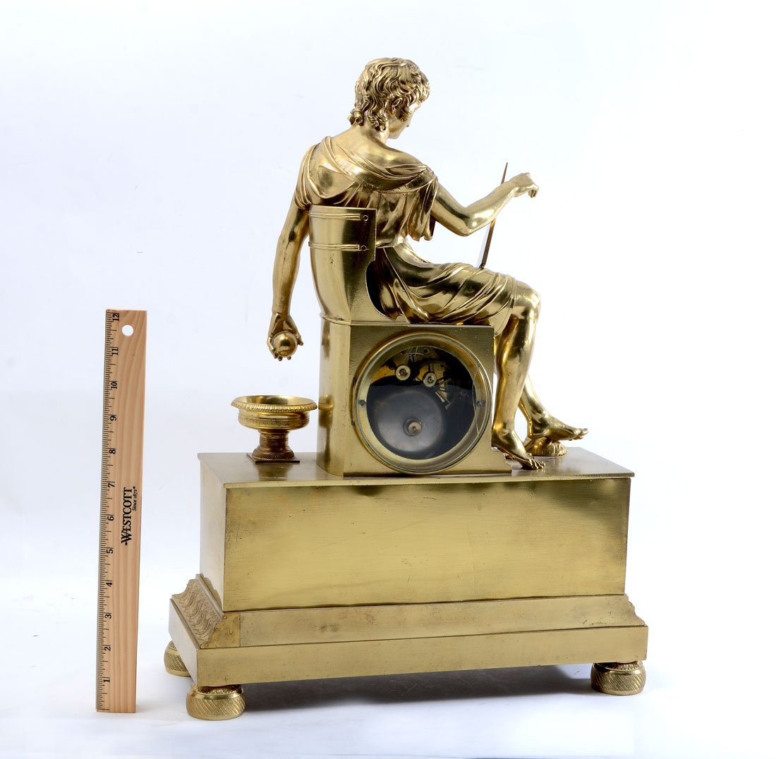 FRENCH EMPIRE FIGURAL GILT BRONZE MANTLE CLOCK - 5