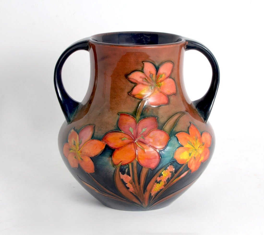 MOORCROFT POTTERY DOUBLE HANDLED FREESIA VASE