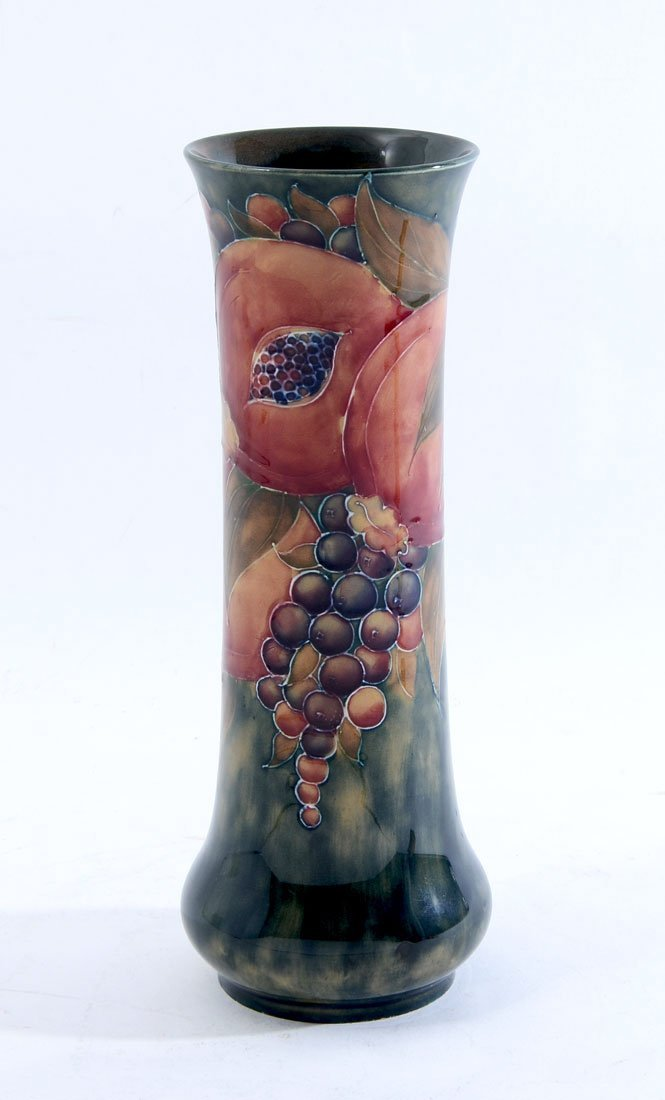 W. MOORCROFT FOR LIBERTY CYLINDRICAL POMEGRANATE VASE
