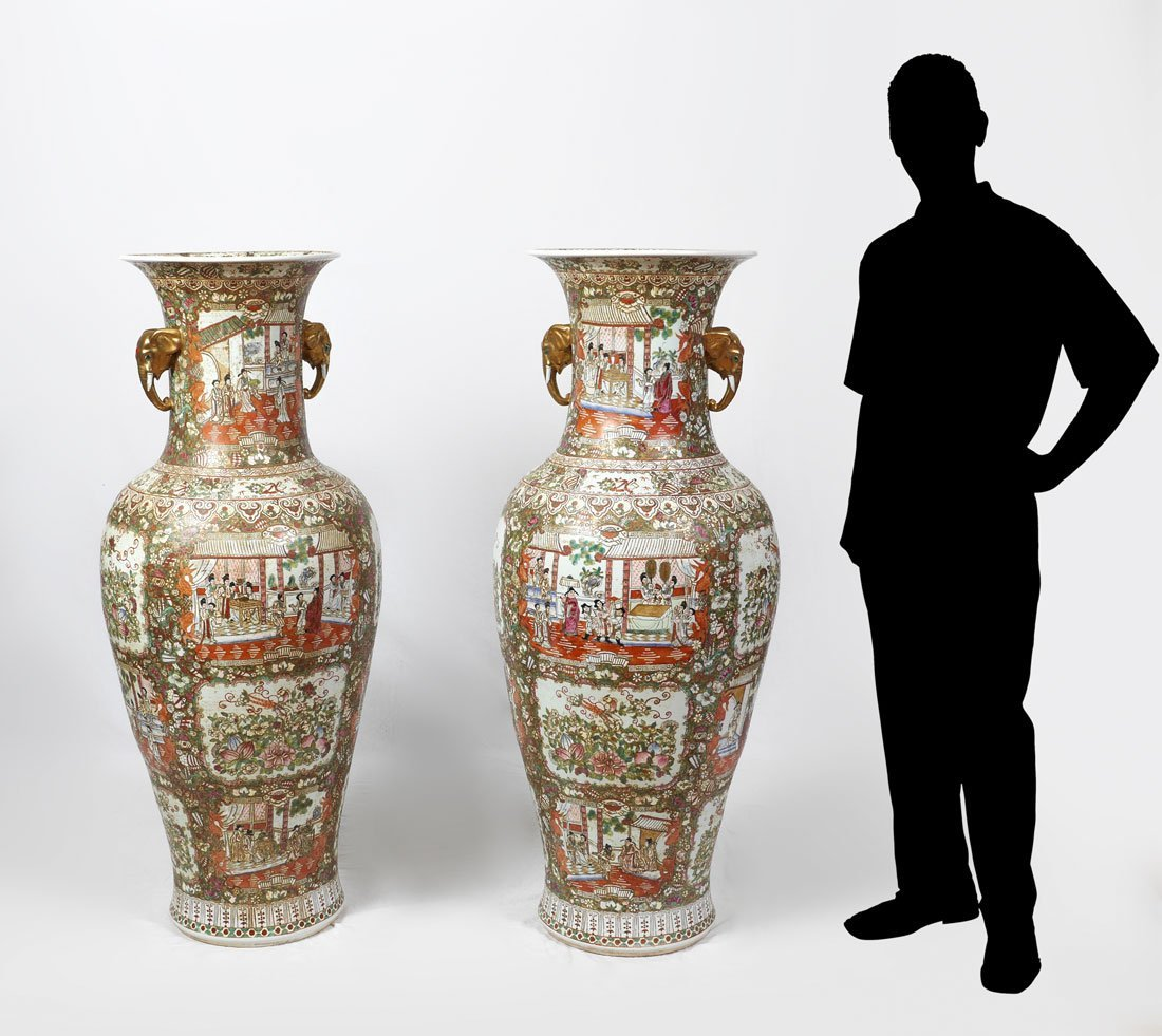 PAIR CHINESE ROSE MEDALLION PALACE VASES