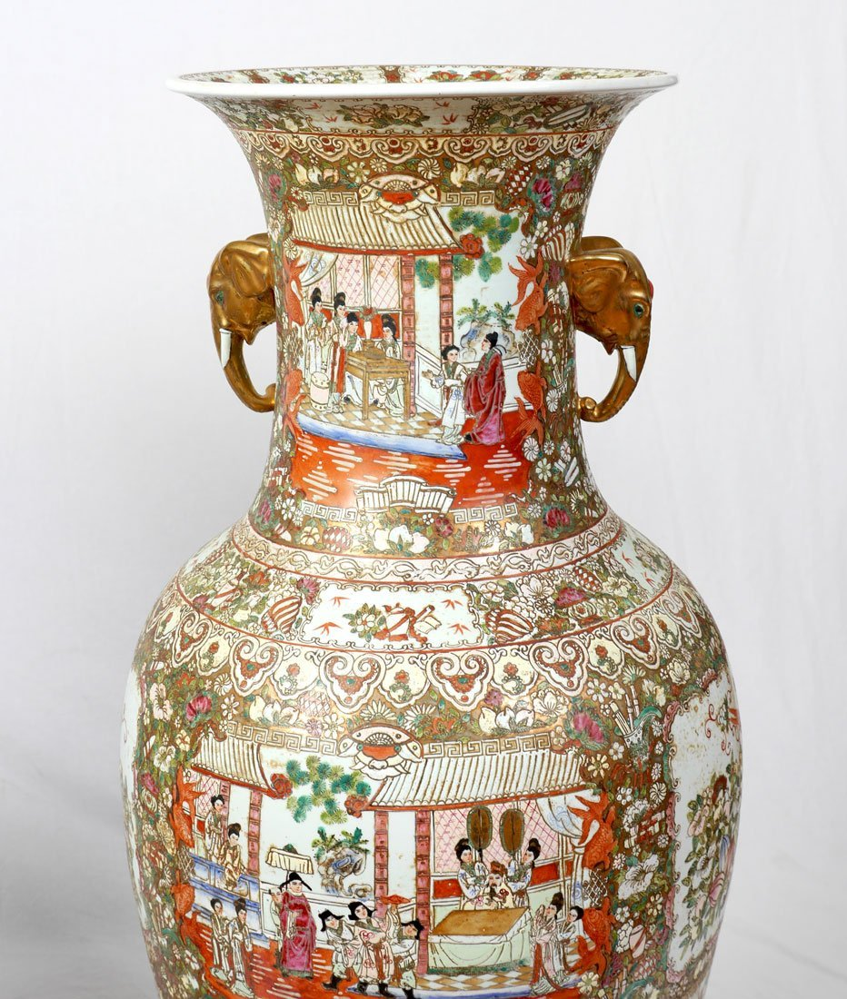 PAIR CHINESE ROSE MEDALLION PALACE VASES - 2