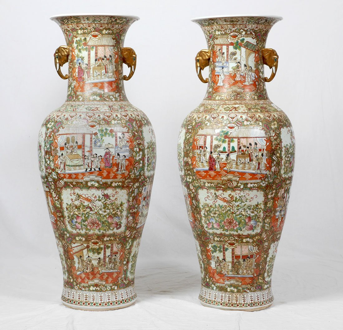 PAIR CHINESE ROSE MEDALLION PALACE VASES - 4