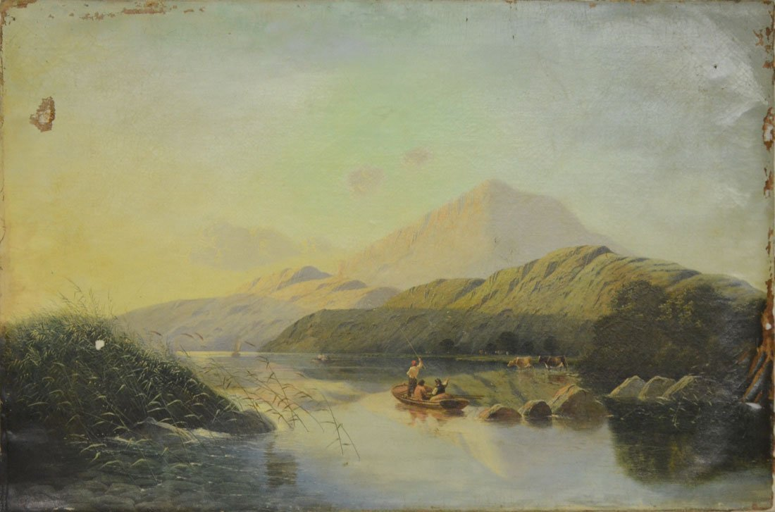LARGE BODDINGTON RIVER SCENE PAINTING