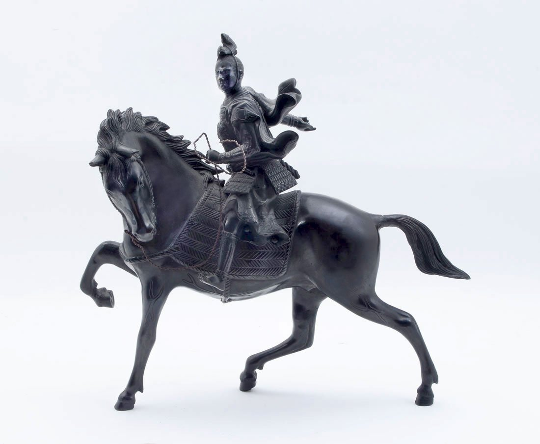 JAPANESE BRONZE SAMURAI WARRIOR ON HORSE