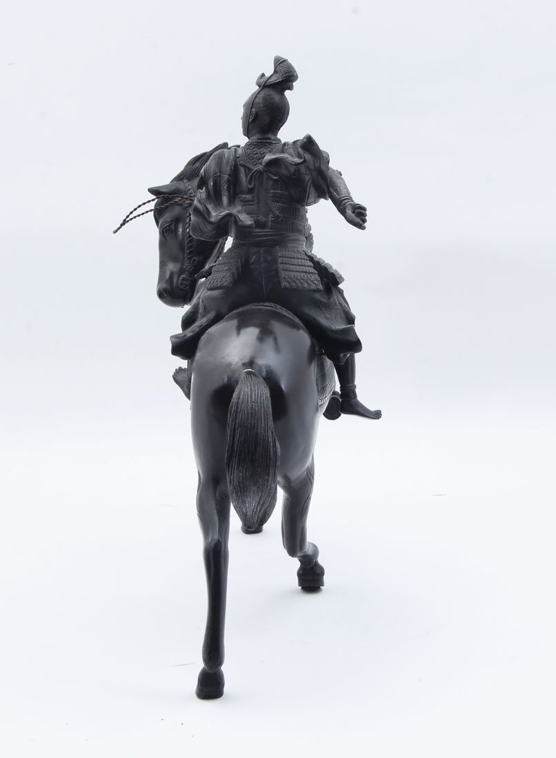 JAPANESE BRONZE SAMURAI WARRIOR ON HORSE - 2
