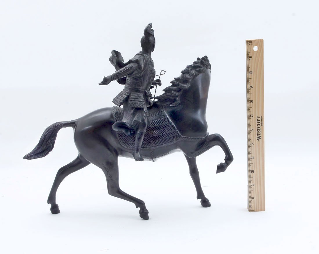 JAPANESE BRONZE SAMURAI WARRIOR ON HORSE - 3
