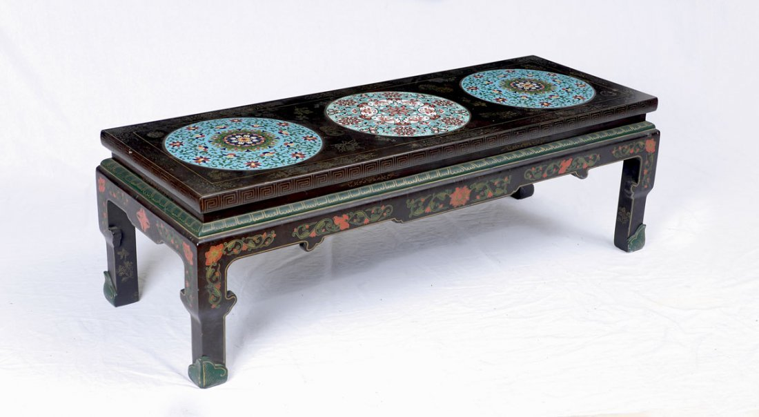 CHINESE COFFEE TABLE WITH 3 CLOISONNE INSERTS