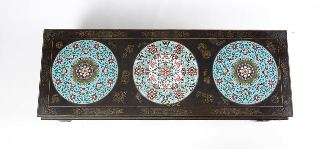 CHINESE COFFEE TABLE WITH 3 CLOISONNE INSERTS - 2