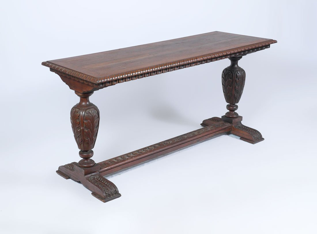 ITALIAN RENAISSANCE REVIVAL CARVED LIBRARY TABLE