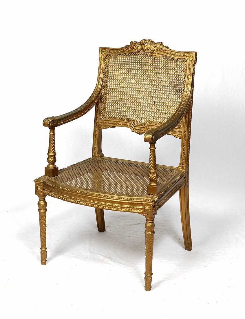 LOUIS XV GILT DECORATED CANED FAUTEUIL CHAIR