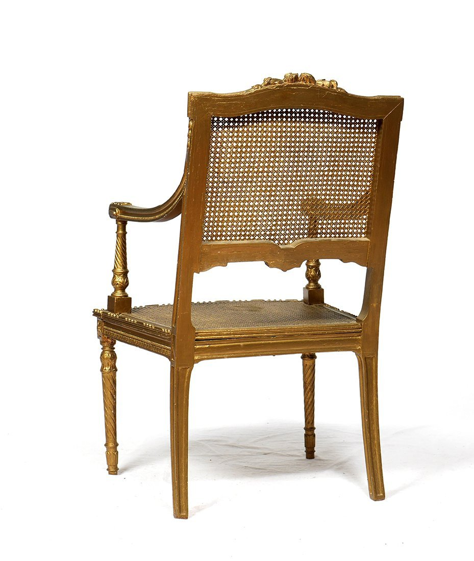 LOUIS XV GILT DECORATED CANED FAUTEUIL CHAIR - 2
