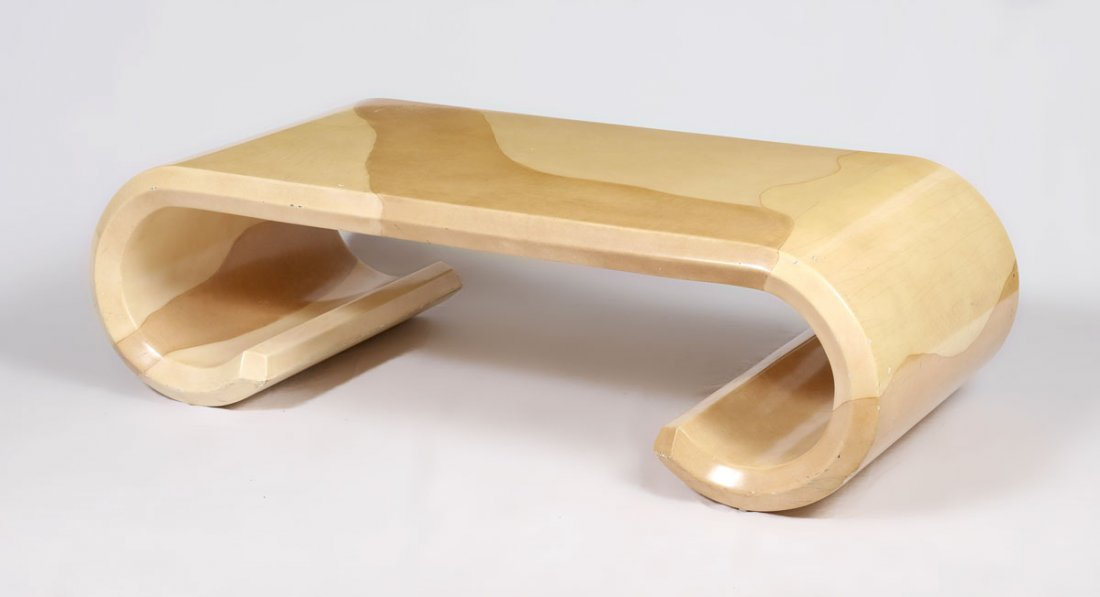 ATTRIB. KARL SPRINGER SCROLL COFFEE TABLE