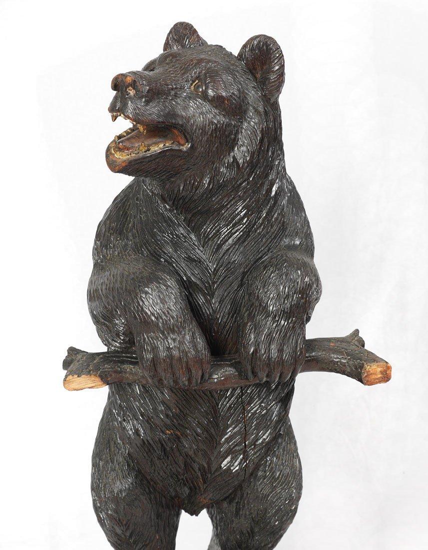 BLACK FOREST CARVED FIGURAL BEAR UMBRELLA STAND - 3