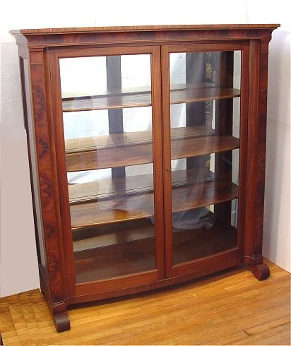 16: GEORGE FLINT BOW FRONT MAHOGANY BOOKCASE CHINA CAB