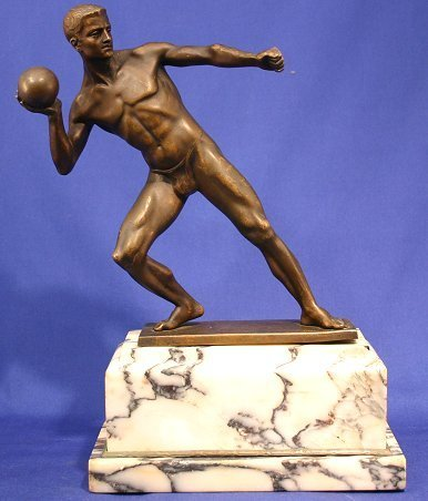 17: SIGNED MALE SHOT PUTTER DECO BRONZE SCULPTURE