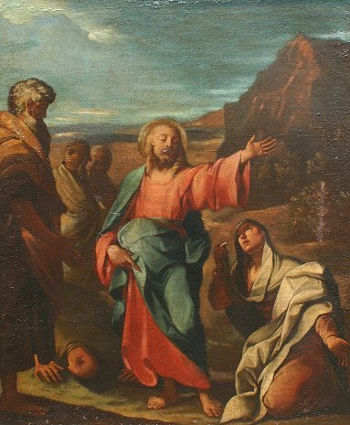 21: OLD MASTER RELIGIOUS PAINTING JESUS & HIS FOLLOWERS