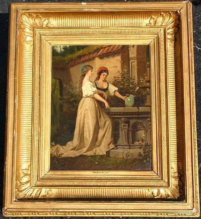 22: SIGNED 19TH C O/C EUROPEAN GENRE PAINTING