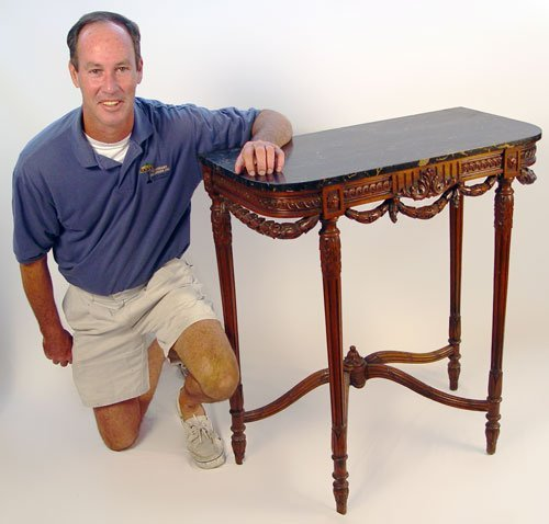 229: BLACK MARBLE TOP FOYER TABLE