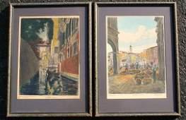 356 PAIR ITALIAN ETCHINGS BY BELA SZIKLAY