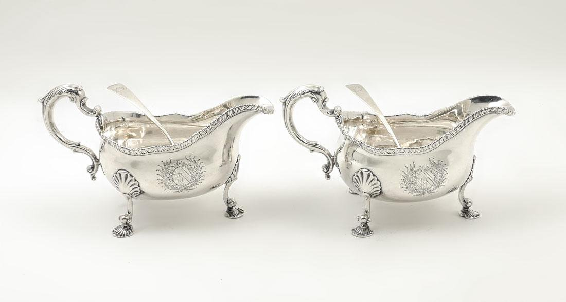 PAIR GEORGE III ENGLISH SAUCE / GRAVY BOATS