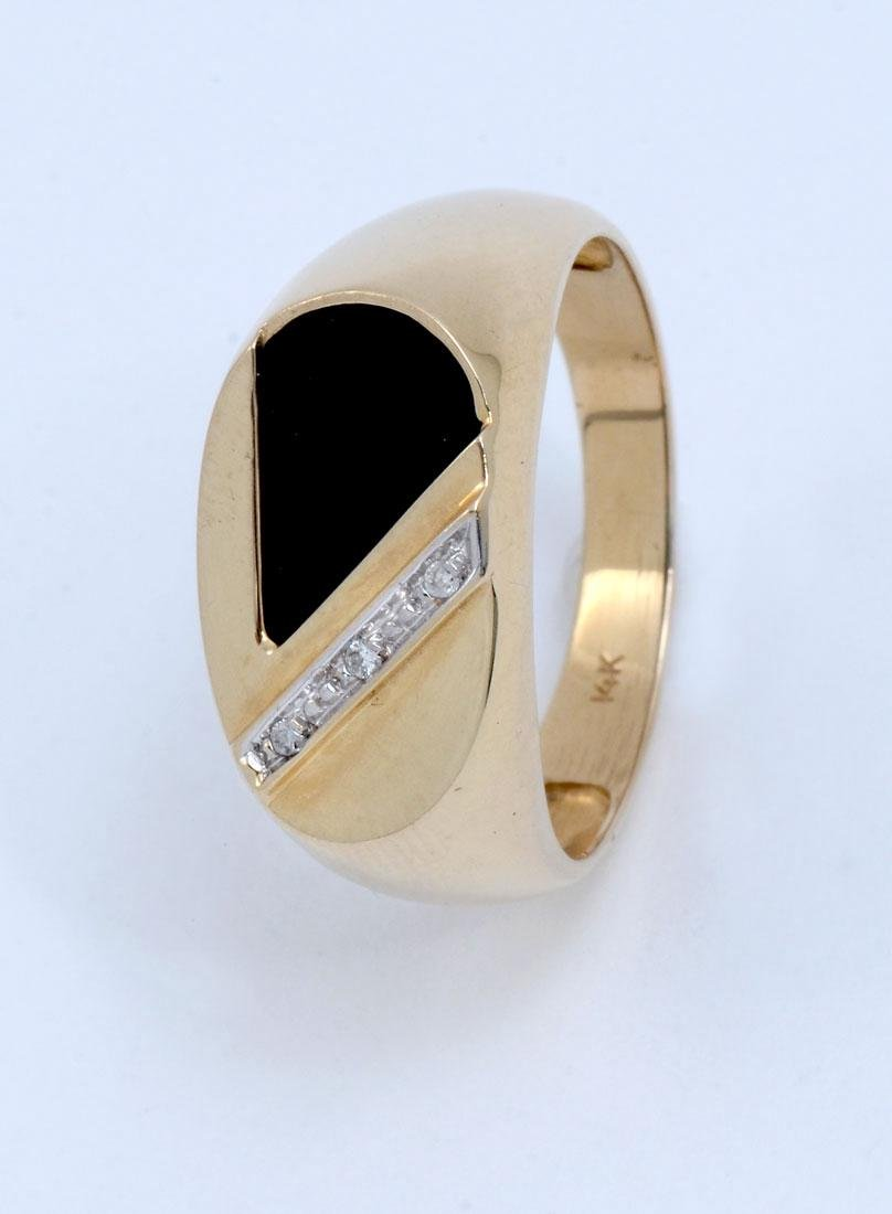 14K ONYX AND DIAMOND MEN'S RING
