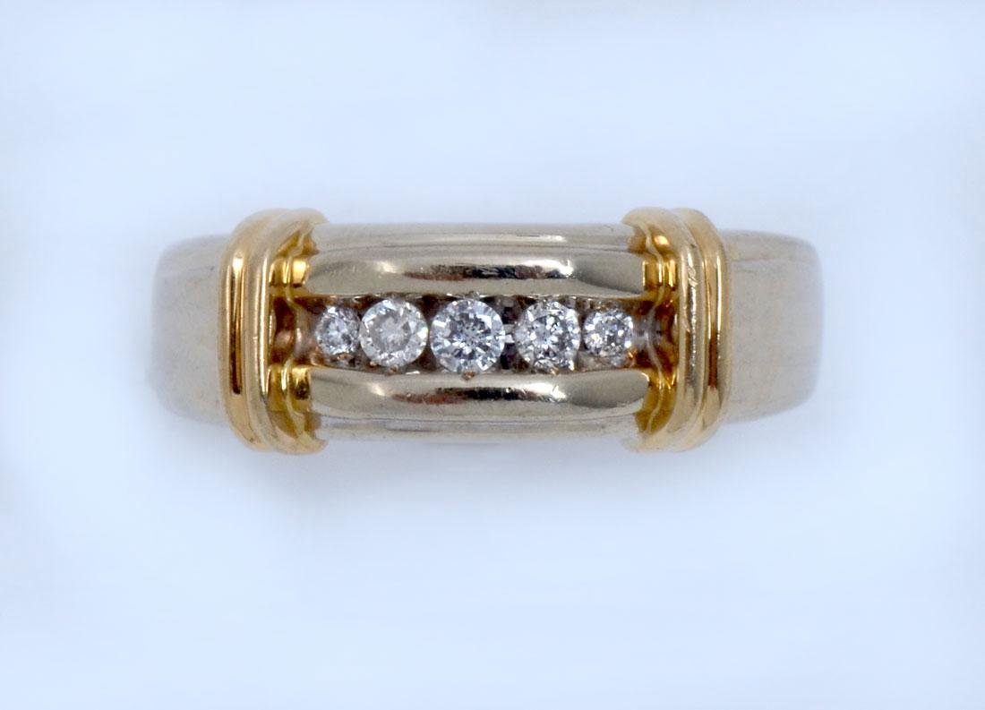 14K 2 TONE GOLD MEN'S RING WITH DIAMONDS