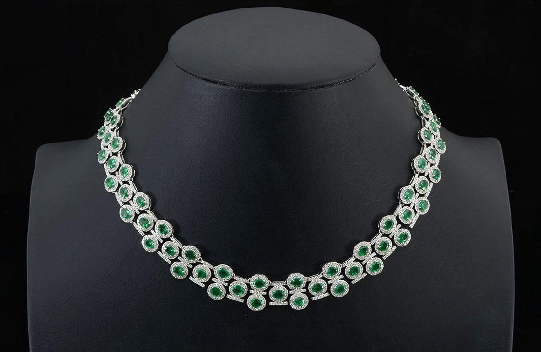 36CTW EMERALD & DIAMOND NECKLACE IN PLATINUM