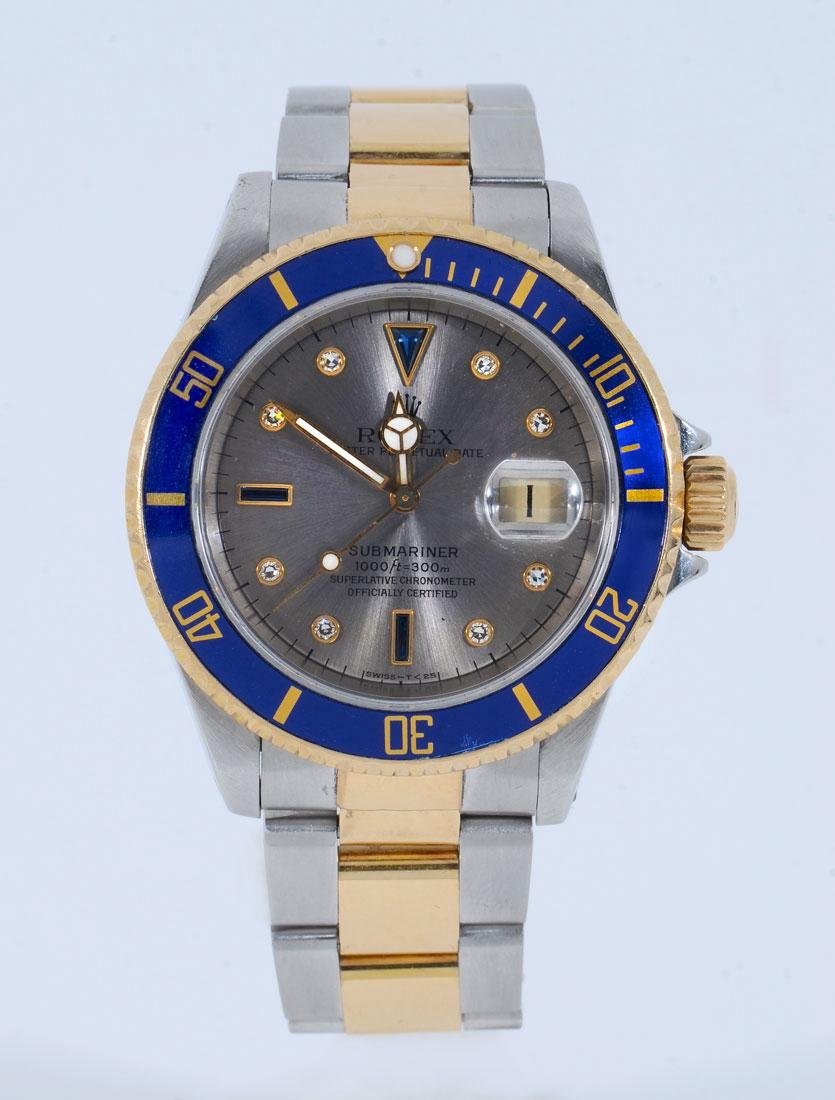 ROLEX SUBMARINER STEEL AND GOLD WATCH #16613