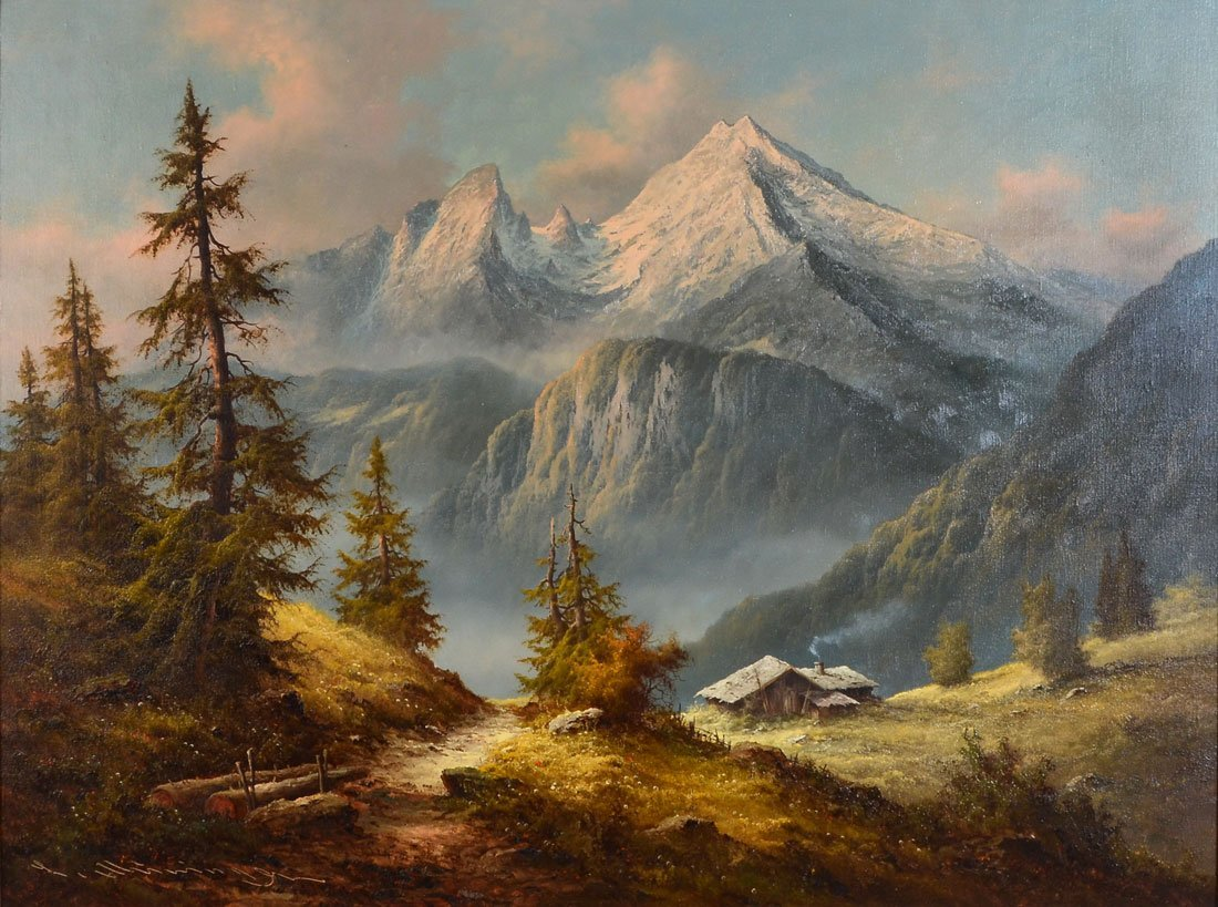 LARGE LUDWIG MUNNINGER PANORAMIC MOUNTAIN LANDSCAPE